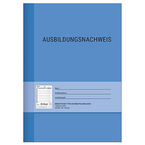 Berichtsheft Ausbildung/Ausbildungsnachweisheft täglich/wöchentlich - DIN A4, 28 Blatt, 1 Woche je Seite, Montag bis Sonntag