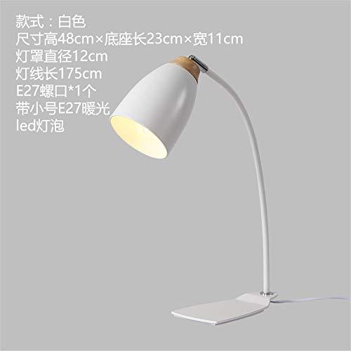 YU-K Personnalité créatrice étude rétro minimaliste lampes de bureau salon chambre à coucher lit metal moderne lampes en fer forgé, 23 * 48cm, blanc, lumière chaude