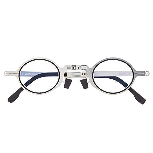 DIDINSKY Gafas de Lectura Plegables Graduadas para Hombre y Mujer. Gafas de Presbicia con Montura Metálica y Lentes con Protección Luz Azul. Graphite +2.0 - MET ROUND