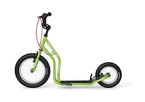 Yedoo Wzoom New Kinder Tretroller - für Kinder ab 6 Jahre, ab 120 cm Körperhöhe, mit Luftreifen 16/12 - für Mädchen und Jungen, Höhenverstellbar mit Ständer und Reflexelementen, grün