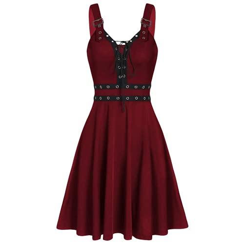 Bcshiye Vestido de steampunk gótico para mujer, sin mangas, con cordones, alto, bajo, vintage, cosplay, camisola, rojo vino, Medium