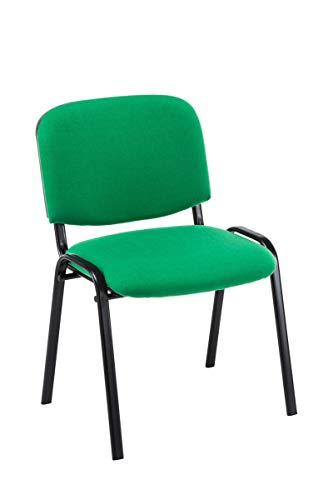 CLP Besucherstuhl Ken mit hochwertiger Polsterung und Stoffbezug I Stapelstuhl mit robustem Metallgestell und gepolsterter Rückenlehne, Farbe:grün