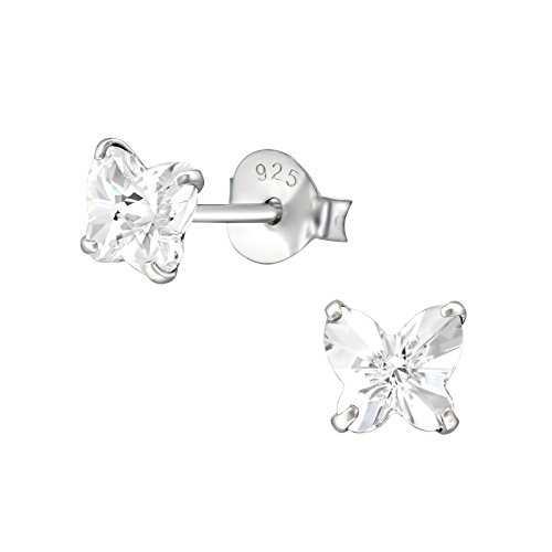 925 Sterling Silver with Crystals from Swarovski small butterfly stud earrings women girls 5mm in various sparkly colours anti allergy hypoallergenic jewellery ladies sensitive ears gift box (Crystal)