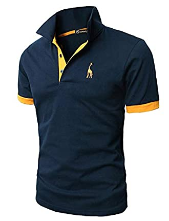GHYUGR Polos Manga Corta Hombre Bordado de Ciervo Camisas Slim Fit Camiseta Deporte Golf Poloshirt Verano Primavera T-Shirt Oficina,Azul Marino,L