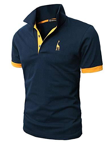 GHYUGR Poloshirt Herren Einfarbig Stickerei Kurzarm Polohemd S-XXL,Blau 1,L