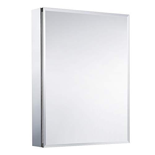 Movo Medicine Cabinet with Mirror, 30 Inch x 24 Inch Aluminum Mirror Cabinet with Single Door, Bathroom Medicine Cabinet, Recess or Surface Mount Installation