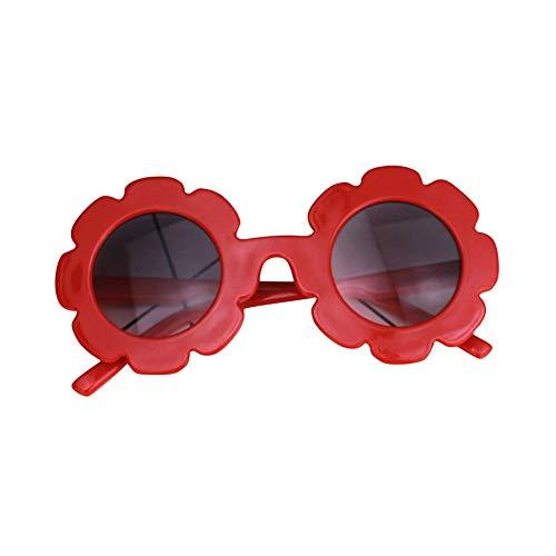 Uticon Gafas de sol para niños, redondas, flores lindas, gafas UV400, gafas de sol de protección, juguetes de fiesta, regalos para niñas niño rojo