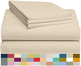 LuxClub 4 PC Microfiber and Bamboo Sheet Set: Bamboo Bedding Sheets with Microfiber - Softer and More Breathable Than Cotton - Antibacterial and Hypoallergenic - Machine Washable, Cream, King