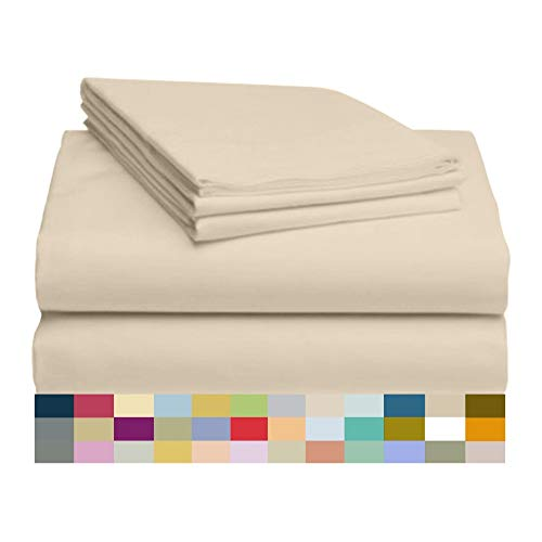 LuxClub 4 PC Sheet Set Bamboo Sheets Deep Pockets 18' Eco Friendly Wrinkle Free Sheets Hypoallergenic Anti-Bacteria Machine Washable Hotel Bedding Silky Soft - Cream Twin XL