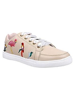 KazarMax Women Beige Birds Embroidery Sneakers Shoes