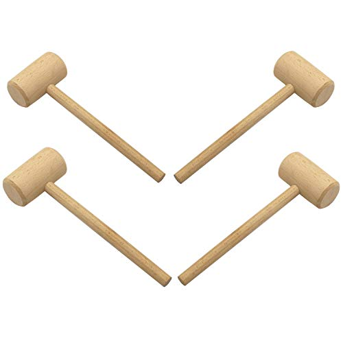 LONG TAO 4 Pcs 7-3/4-INCH Wooden Crab Lobster Mallets Shellfish Hammers Natural Hardwood Crab Hammers Seafood Cracker