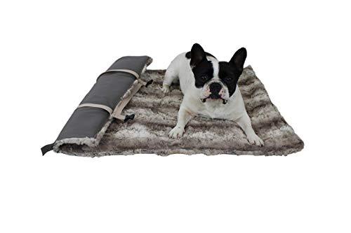 HS-Hundebett Outdoor-Hundedecke in 3 Größen I Qualität Made in Germany - robust & wasserundurchlässig I waschbar bei 40° - mit 3 cm Vlies-Füllung I Reise-Hunde-Decke (85 x 120 cm, Taupe)