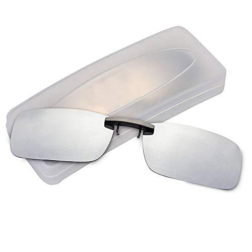 クリップオン サングラス 偏光サングラス クリップ UV400 夜間運転 偏光スポーツサングラス 偏光レンズ メガネの上からつけられる 付きサングラス 跳ね上げ 偏光クリップ眼鏡 紫外線カット 前掛けクリップ式サングラ ス 収納ケース付き 超軽量 (シルバ