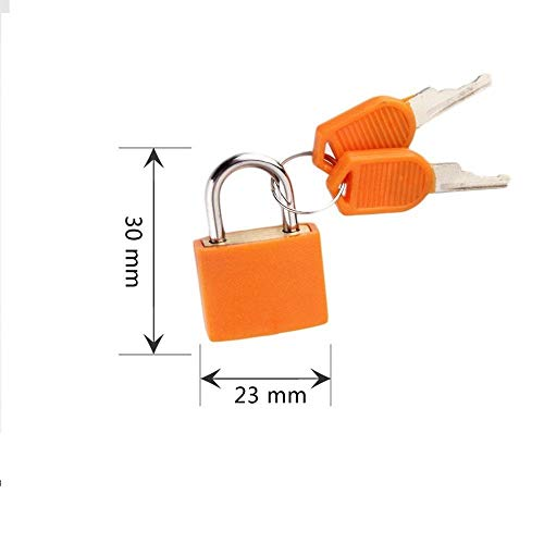 Fahrradschloss Kleines Starkes Stahl-Vorhängeschloss 23X30Mm Reise Winziges Kofferschloss Mit 2 Schlüsseln Vorhängeschloss-Orange