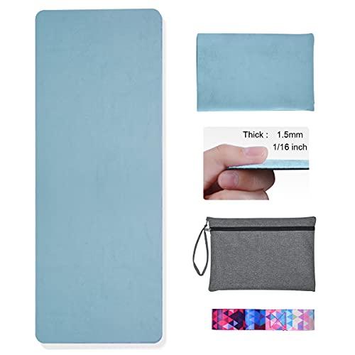 Hivexagon yoga mat plegable de 1,5 mm grueso antideslizante yoga mat viaje del cojín de cubierta sweat entrenamiento absorbente y suaves y ligeros colchoneta de ejercicio de yoga pilates y fitness