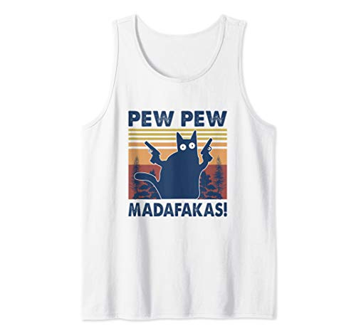 Pew Pew Madafakas Cat Crazy Vintage Retro Graphic Tank Top