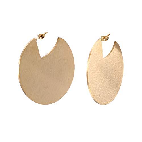 Heideman Ohrringe Damen Discus aus Edelstahl silber, gold oder rosegold farbend matt Ohrstecker Creolen hängend für Frauen vergoldet ho485-7