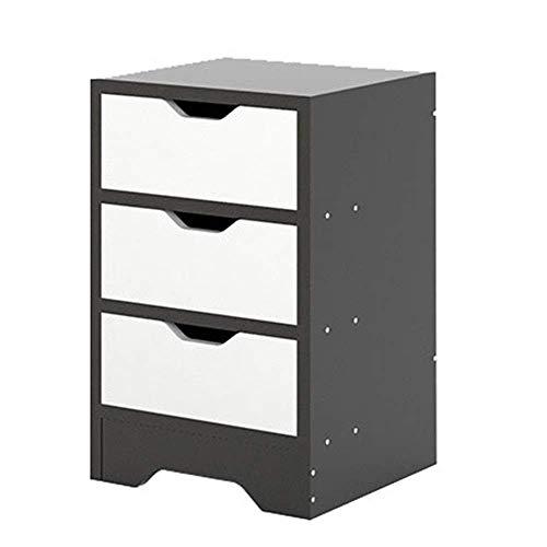 Renovering Hus Nattduksbord Högblank Nattbord Svart 3 lådförvaring Multifunktions sidobord Hemmöbler Modern lådsäng (Färg: Svart Storlek: 30 * 30 * 482 cm)