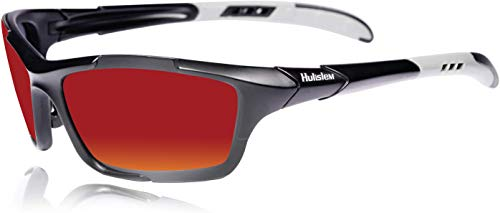 HULISLEM S1 Sport Polarized Sunglasses For Men Women (Black Red)