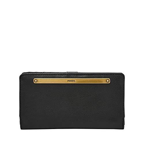 Fossil Women's Liza Leather Slim Minimalist Bifold Wallet, Black