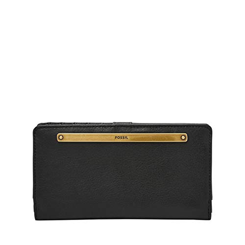 Fossil womens Liza Leather Slim Bifold Wallet, Black, One Size US
