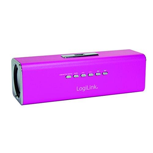 LogiLink SP0038P DiscoLady Soundbox, MP3-Player über USB Stick oder Micro-SD Speicherkarte, integriertes FM-Radio, ideal für die Party zu Hause und/oder Unterwegs, Pink