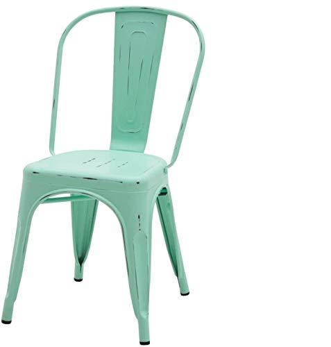 ARREDinITALY - Juego de 2 sillas Industrial Tolix – Réplica de Metal Verde Agua Envejecida.