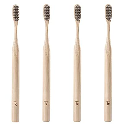 Biodegradable toothbrush, Eco friendly toothbrushes, Charcoal toothbrush, Soft Bristle Toothbrush, Organic, Bamboo toothbrushes Dental Pack of 4