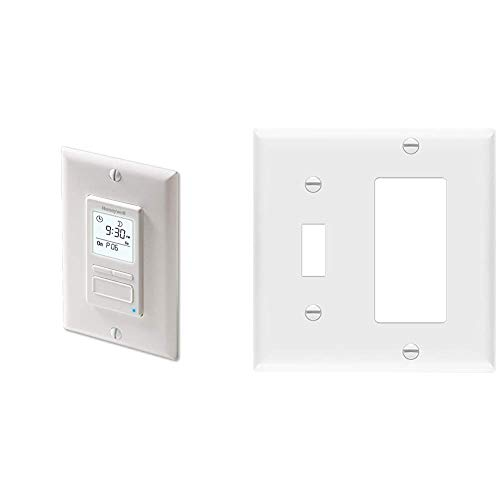 Honeywell Home RPLS740B1008 Econoswitch 7-Day Programmable Light Switch Timer, White & Enerlites 881131-W Decorator/Toggle Switch Wall Plate Combination, 2-Gang, White
