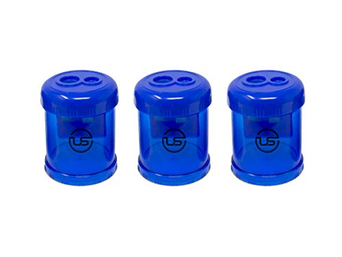 Manual Pencil Sharpener, 3 Pack Blue Dual Holes Sharpener with Lid for Regular and Oversized Pencils or Crayons
