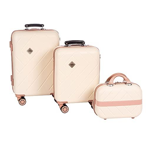Enrico Coveri Set Due Trolley + Beauty Case Da Viaggio, Valigie Rigide in 3 Dimensioni Con 4 Ruote Girevoli e Struttura Resistente in ABS Antigraffio e Antiurto (Beige)