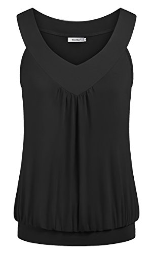 Sixother Sleeveless Tunics for Women, Plus Size Sexy V Neck Summer Shirt Tops Lightweight Flowy Blouses Layered Cami Tank Tops Black 2XL Blouses for Women Fashion 2020