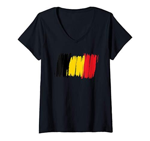 Damen Belgien Flagge Belgisch Fahne Europa Geschenk T-Shirt mit V-Ausschnitt