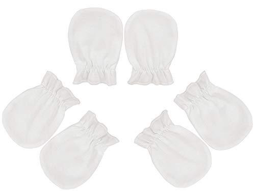 3 Paar Baby Kratzhandschuhe Set Kratzfäustlinge Neugeborene Baumwolle Fäustlinge für Mädchen und Jungen von 0 bis 3 Monate - Anti - Scratch Mittens – Hergestellt in EU (3 Paar: Weiß)