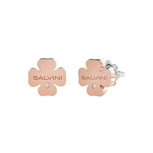 Salvini - Pendientes de oro rosa con trébol de 4 hojas y diamantes de 0,02 ct