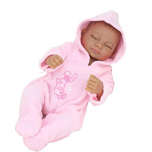 TERABITHIA 10 inches Mini Black Cute Alive Newborn Sleeping Baby Dolls Silicone Vinyl Full Body African American Washable for Girl