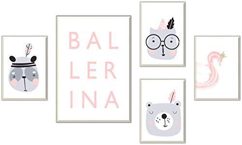 ELAFI 3-delige set kinderkamerposters | A4 foto's zonder fotolijsten | Kinderdecoratie in Scandinavische stijl | Afbeeldingen met diermotieven voor de babykamer | Muurfoto's voor meisjes en jongens