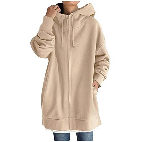 BIBOKAOKE Sudadera de mujer con capucha larga con cremallera y capucha para otoño e invierno