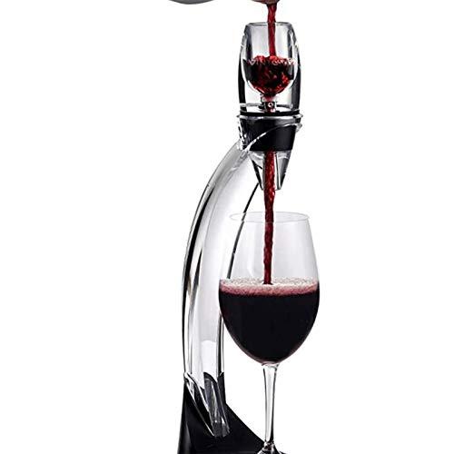 Decantador de vino de cristal hecho a mano, Decantador de vino Tower STAND STAND SET FÁCILTRANTE Y APROVECTAMENTE APAGUE EL VINO POR LA BOTELLA O VISTA Y mejora los sabores con acabado más suave, negr