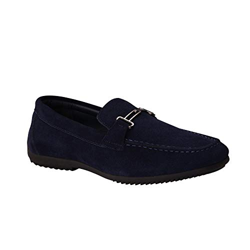 Colgo Men's Casual Leather Penny Loafers Fashion Slip on Driving Moccasins Shoes Wide Comfortable Slippers (13 M US, Blue Suede)