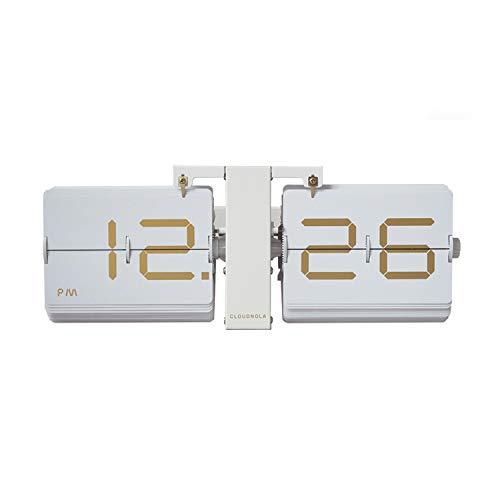Cloudnola Retro Flip Uhr - Weiß und Gold - Stylische Tisch- und Wanduhr - Digitale Designer Flip Clock - Deko Uhr mit Metall Standfuß und goldenen Ziffern- Moderne Designer Standuhr