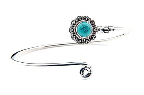 Türkis Armreif 925 Silber Sterlingsilber Armband Armspange blau grün (MAR 05-15)