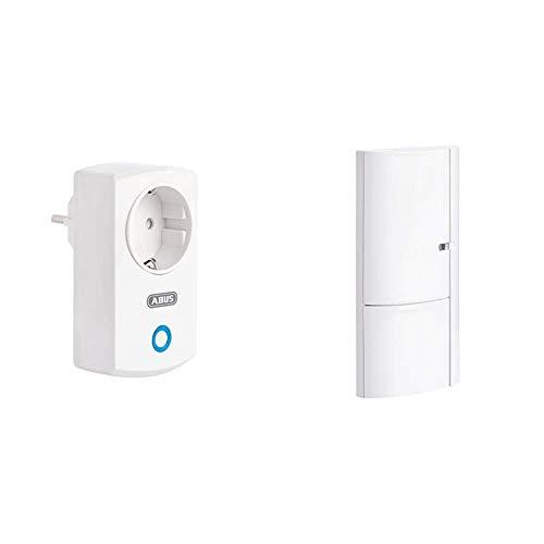 ABUS Funk-Steckdose Smartvest Erweiterung der Funk-Alarmanlage | WLAN | Smarte Lichtsteuerung | weiß & Öffnungsmelder Smartvest für Funk-Alarmanlage | verwendbar an Türen und Fenster | weiß