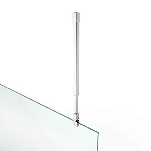 Stabilisator Haltestange HS19 Deckenhalter verchromt | Winkel flexibel einstellbar| Geeignet für die Glasstärken 6-10 mm Verstellbar 250-400 mm