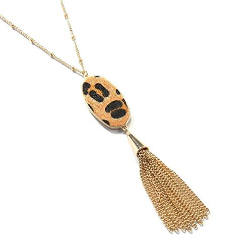 Yixikejiyouxian Collar, joyería Americana geométrica de Cuero de Caballo Leopardo Colgante Largo Collar de Mujer suéter Cadena - Oro + Negro