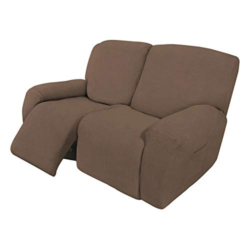 Easy-Going 6 Pieces Recliner Loveseat Stretch Sofa Slipcover Sofa Cover Furniture Protector Couch Soft with Elastic Bottom Kids, Spandex Jacquard Fabric Small Checks Brown