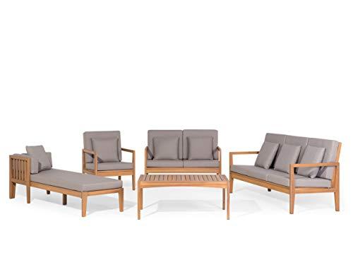 Beliani Modernes Gartenmöbel Set 2 Sofas Sessel Liege Couchtisch Akazienholz Pataja
