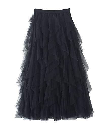 DianShaoA Donna Gonna Lunga di Tulle Elastico in Vita Stile Elegante Casual Irregolare Tulle Gonna Pieghe Nero