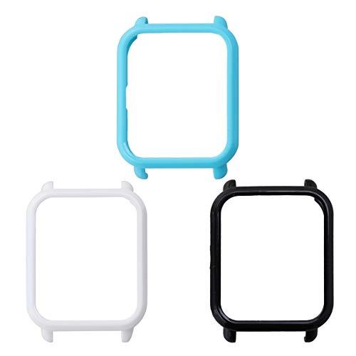 UKCOCO Funda Amazfit Bip, 3 Piezas Funda de Reloj Inteligente de plástico Duro Funda Protectora Antiarañazos Parachoques Marco Compatible con Huami Amazfit Bip (Negro/Blanco/Azul)