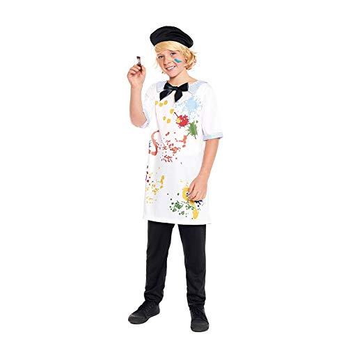 Disfraz Pintor Niño Disfraz Artista Francés Bata Pintura Boina Artista【Tallas Infantiles de 3 a 12 años】[5-6 años] Disfraz Niño Carnaval Profesiones con Gorro Desfiles Obras Teatro Actuaciones Regalo